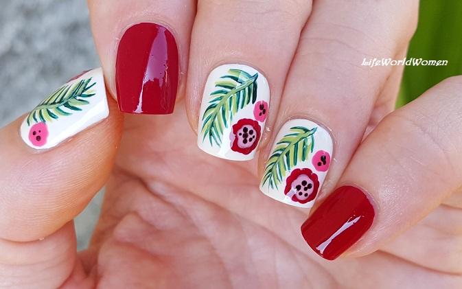 Red & White Tropical Nail Art - Life World Women: Red & White Tropical Nail Art