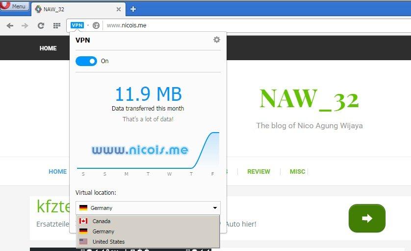 Pilihan lokasi virtual pada VPN Opera