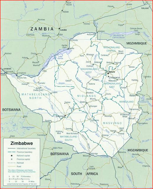image: Zimbabwe political Map