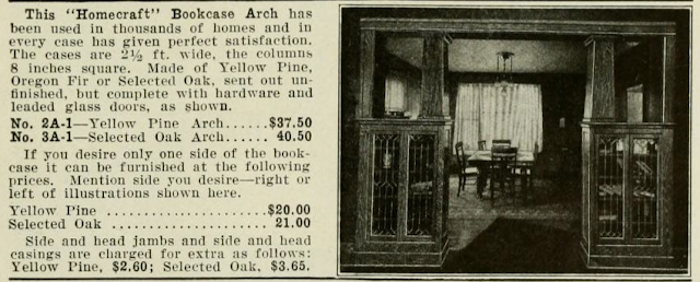 black & white view of catalog image of Homecraft brand bookcases, Aladdin 1917 catalog