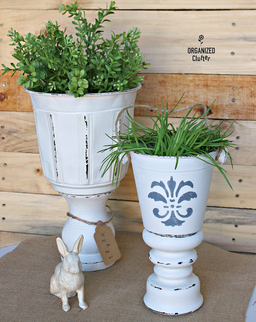 DIY Planter Urns from Thrift Shop Parts  #upcycle #repurposed #thriftshopmakeovers