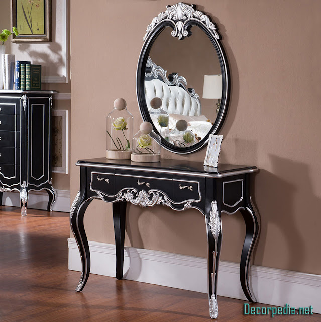 Modern dressing table design ideas with mirror, black dressing table