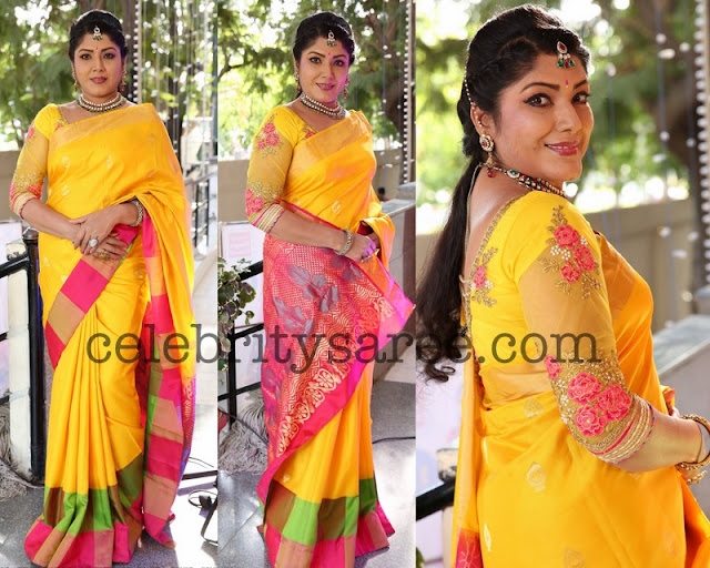 Raja Shri Reddy Yellow Silk Saree