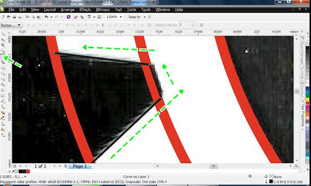 Caso algum ponto ou nó saia fora use a Shape Tool para corrigir, clique nele e com as setas e vai posicionando  onde quer.