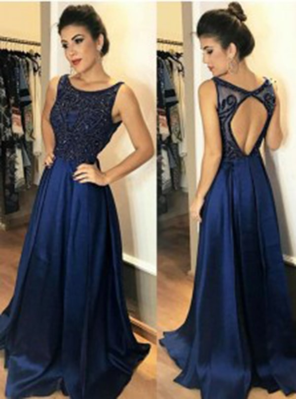 A-Line Bateau Open Back Dark Blue Satin Beaded Prom Dress