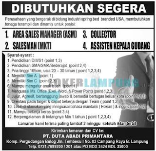 Loker Lampung di PT. Duta Abadi Primantara Terbaru Mei 2016