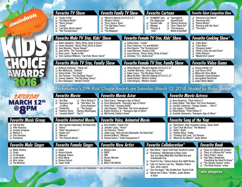 Choice Awards printable ballot | The Gold Knight - Latest Academy ...