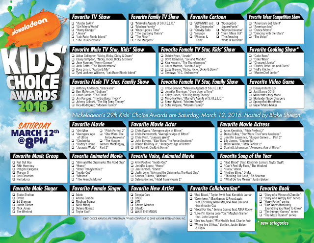 Printable ballot for Nickelodeon's 29th Kids' Choice Awards 2016