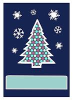 Weihnachtliche Fensterkarte mit Tanne und Schneeflocken
