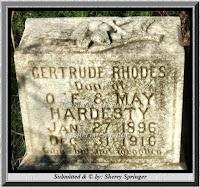 Image of Gertrude (Hardesty) Rhodes grave maker.