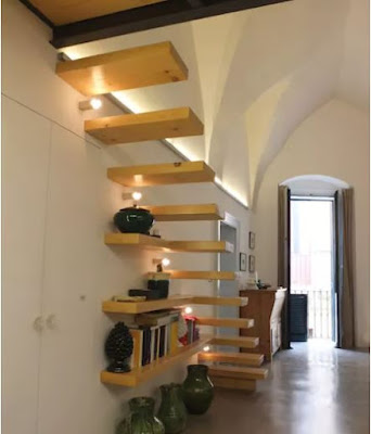 floating staircase designs with stair lighting