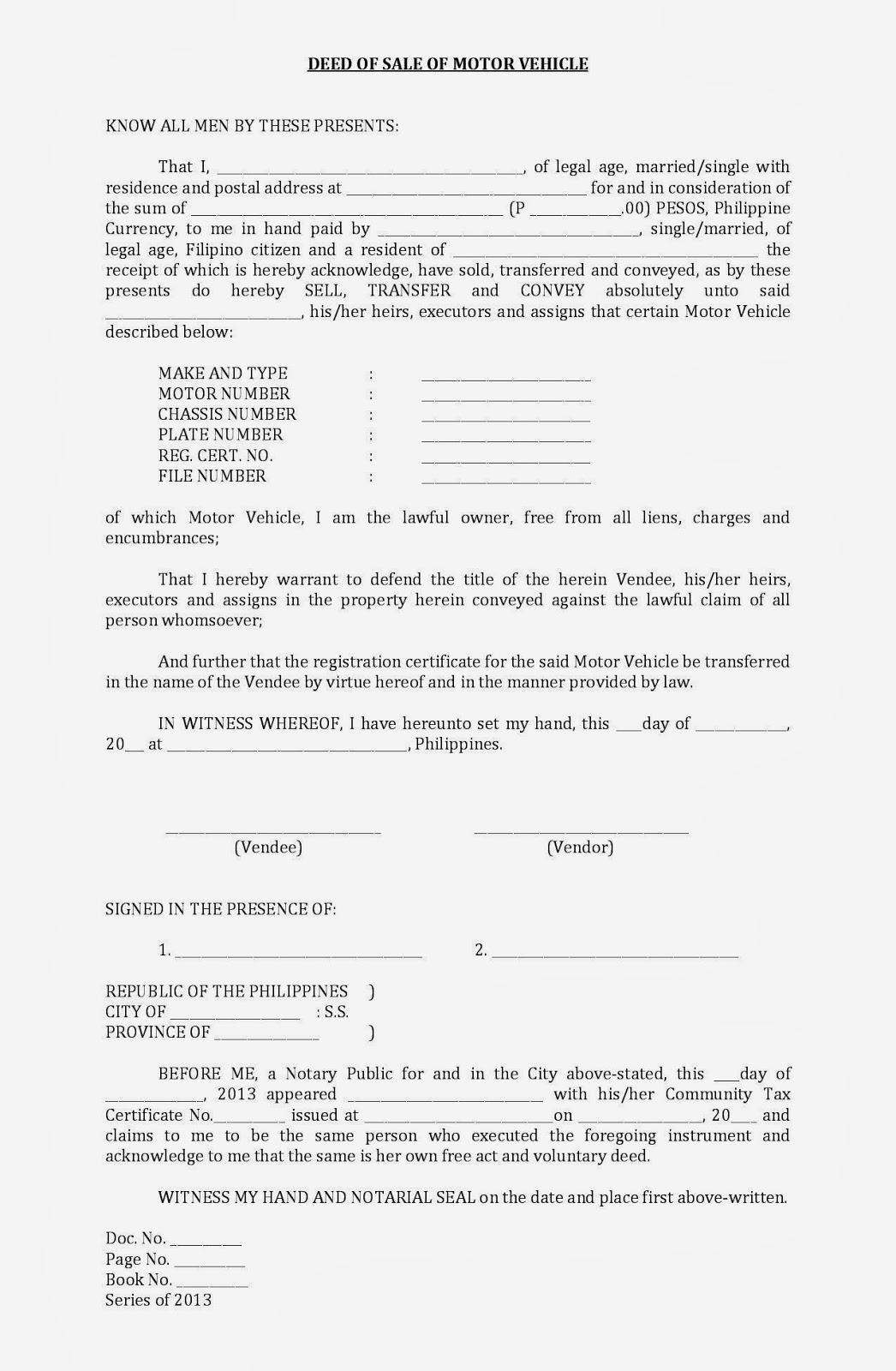 sale letter format for vehicle