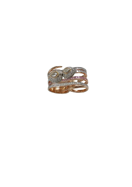 Double finger ring with pink sapphires and white diamonds from Mirari in 18 kt yellow gold