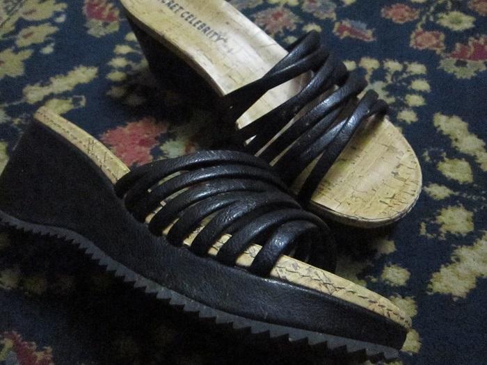 shoes, platform sandals, broken foot