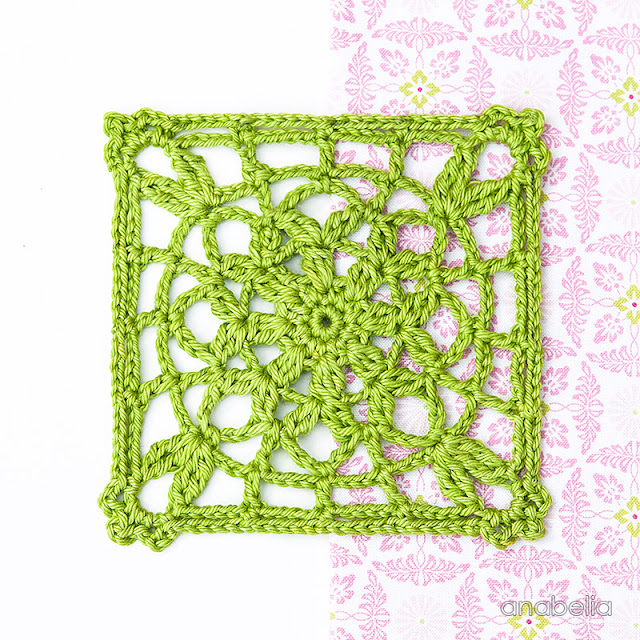 Crochet lace square Motif 4/ 2017 pattern Anabelia Craft Design