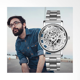 SOXY Top Luxury Fashion Skeleton Stainless Steel Watch Men's Jam Tangan - Silver [SOXY0122H]