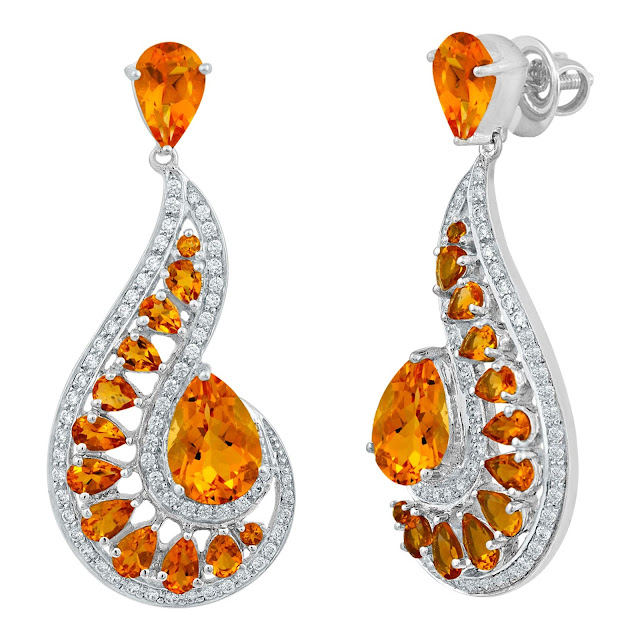 Citrine and White Topaz Earrings by Velvetcase.com