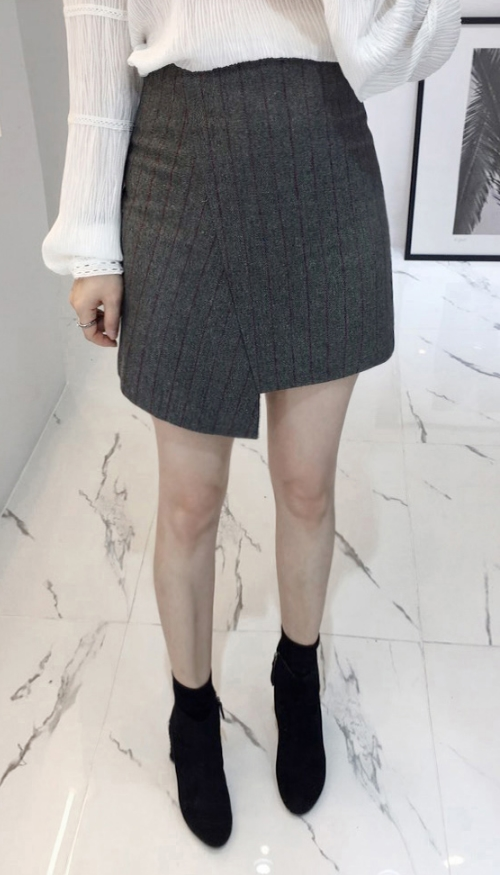Striped Asymmetrical Mini Skirt