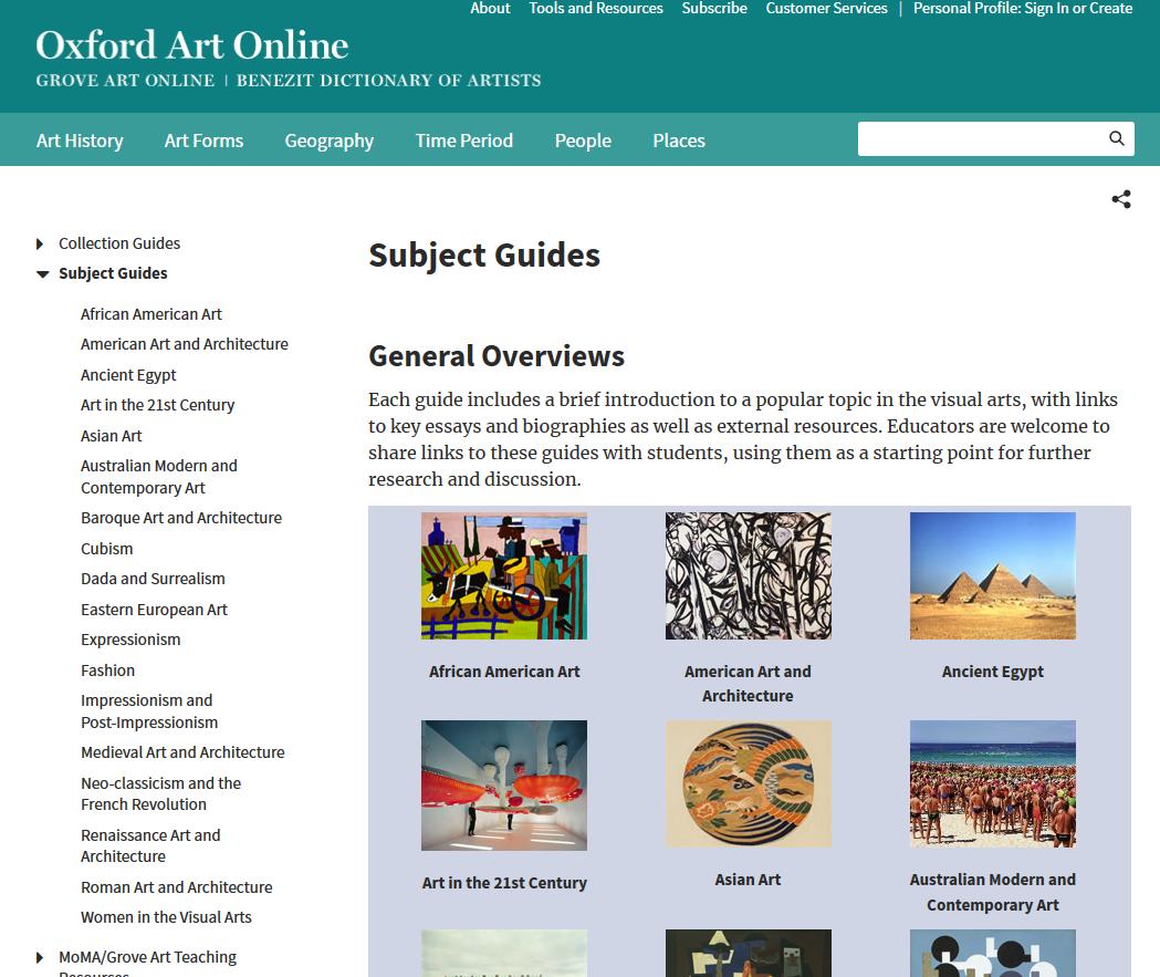 Art & Design Inforama: Subject Guides in Oxford Art Online