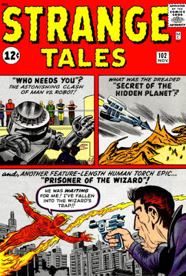 Strange Tales 102, the Human Torch vs the Wizard, man vs machine
