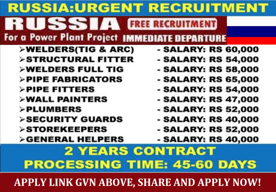URGENTLY WANTED FOR RUSSIA - POWER PLANT COMPANY, INDIAN ...
