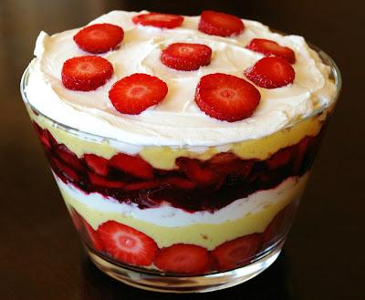 trifle owocowy, warstwowy deser truskawkowy,