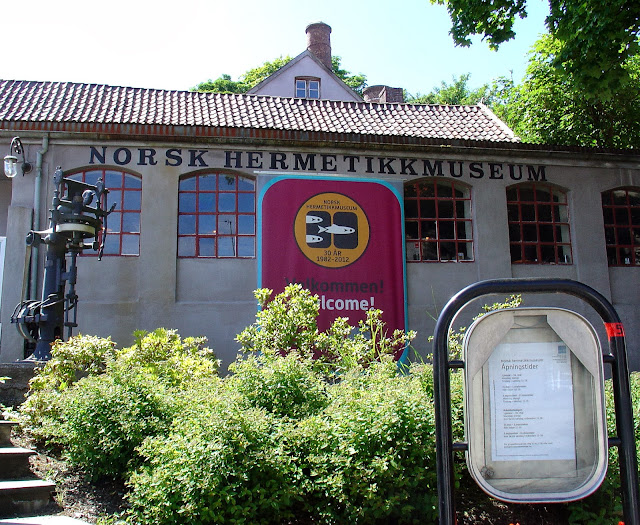 Front facade of the Norsk Hermetikkmuseum or the Norwegian Canning Museum.