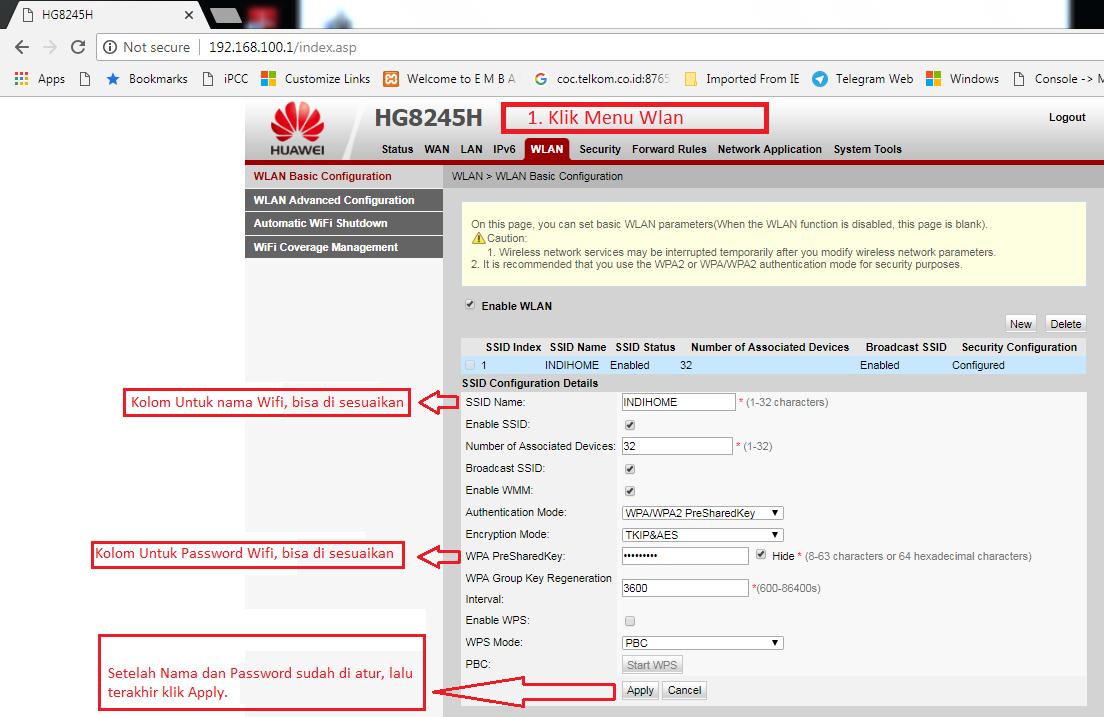 Cara mengganti Nama dan Password Wifi INDIHOME ONT Huawei HG8245H