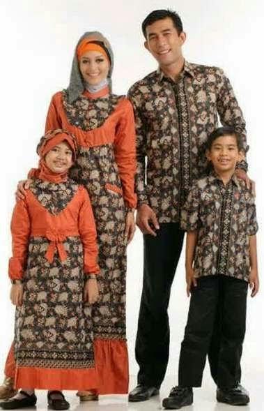 Contoh model baju batik muslim sarimbit lebaran terbaru