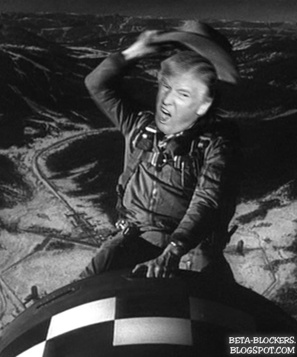 Image result for Trump rides nuclear bomb Dr Strangelove