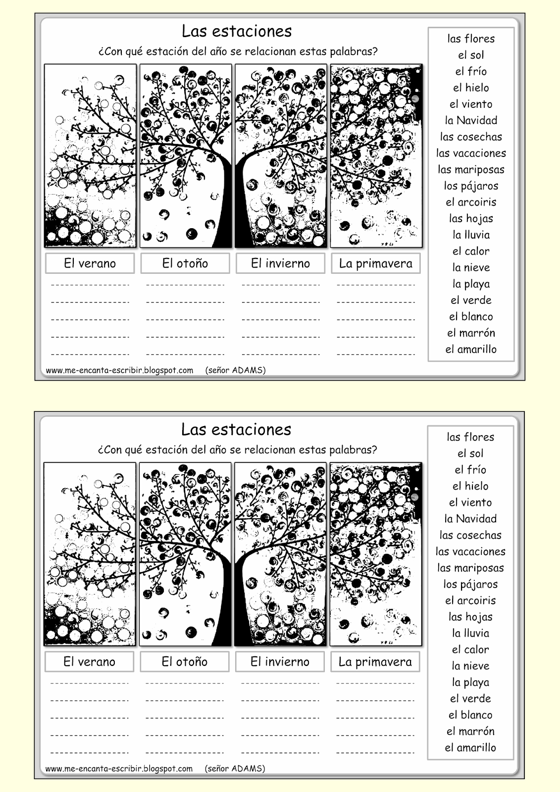Seasonal Words In Spanish Spanishworksheets Classroomiq Newteachers