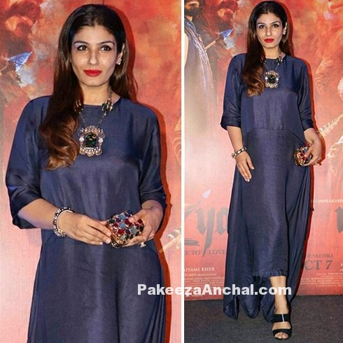 Raveena Tandon in Royal Blue Payal Khandwala Signature Dress