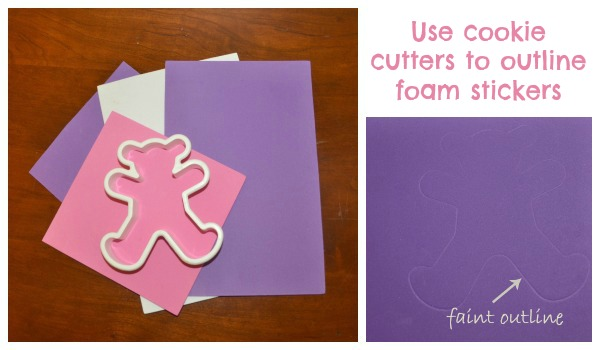 use cookie cutters to outline the shape of foam stickers for baths