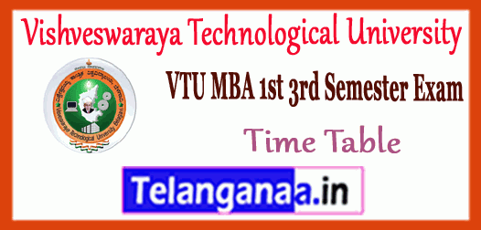 VTU Vishveswaraya Technological University MBA 1st 3rd Semester Time Table