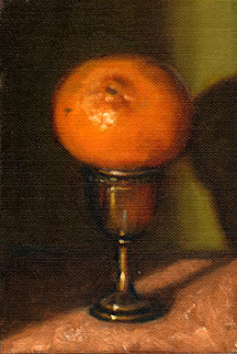 Oil painting of a mandarine perched on top of a silver-plated egg cup.
