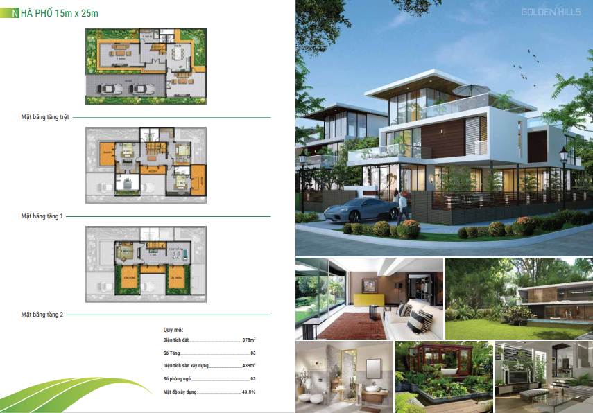 Mẫu thiết kế nhà phố 15x25m