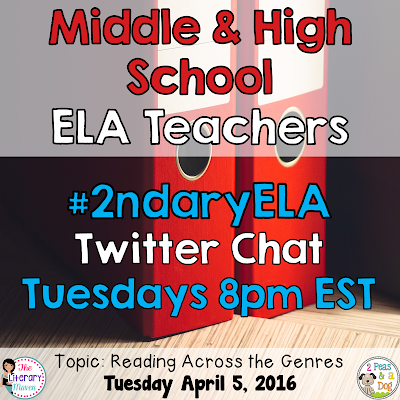 Join secondary English Language Arts teachers Tuesday evenings at 8 pm EST on Twitter. This week's chat will focus on reading across the genres.