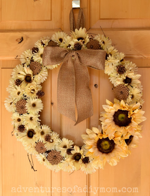How to Make a Fall Flower and Pinecone Wreath