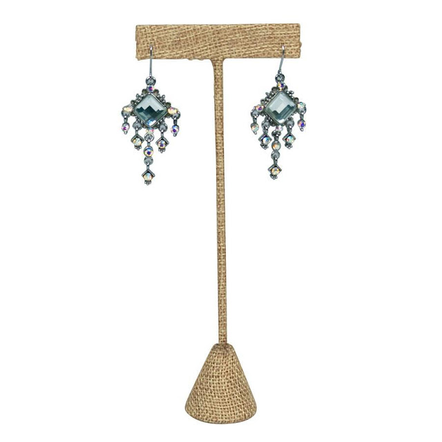 Shop for T-shaped metal earring display stand burlap.