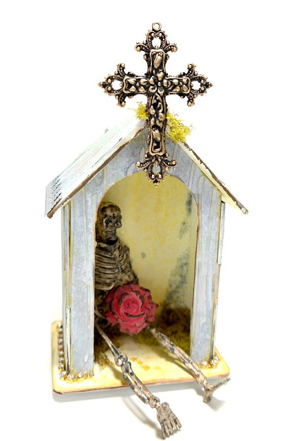 Chipboard Shrine with Skeleton and Gold Cross