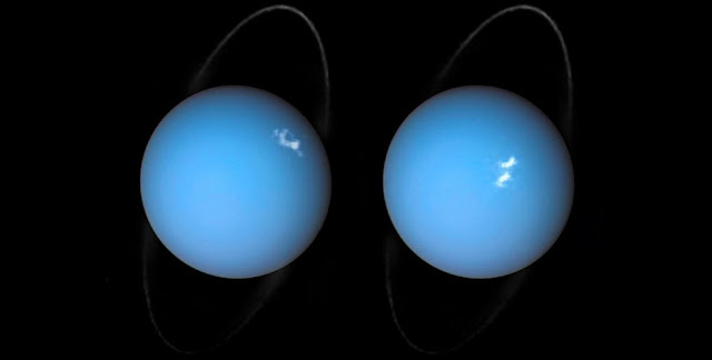 This is a composite image of Uranus by Voyager 2 and two different observations made by the Hubble Space Telescope — one for the ring and one for the auroras (Photo credit: ESA/Hubble & NASA, L. Lamy/Observatoire de Paris).