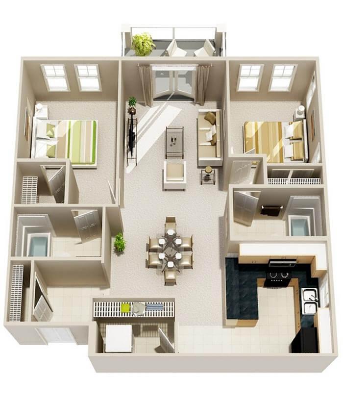 2+1 3d prefabrik ev planları
