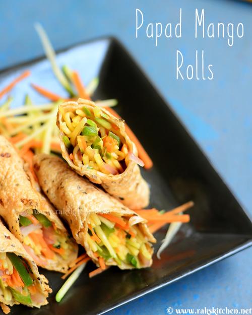 Papad rolls with mango