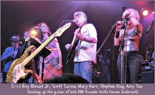 Rock Bottom Remainders: Mary Karr, Stephen King, Amy Tan, and Kathi Goldmark's guitar