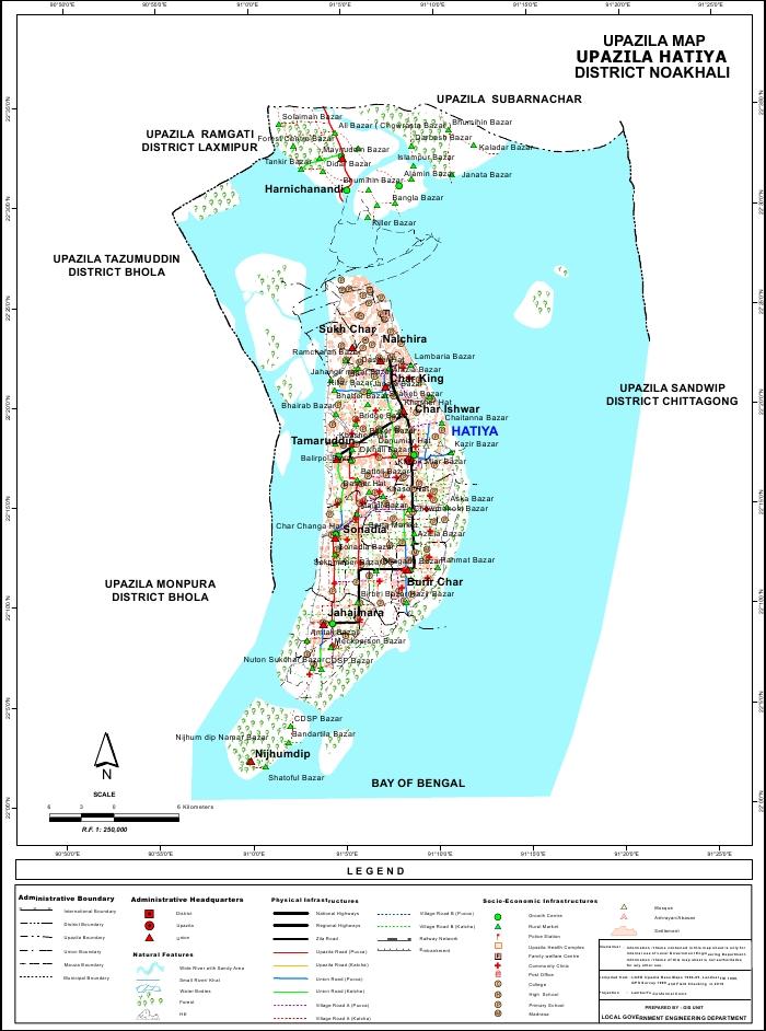 Hatiya Upazila Map Noakhali District Bangladesh