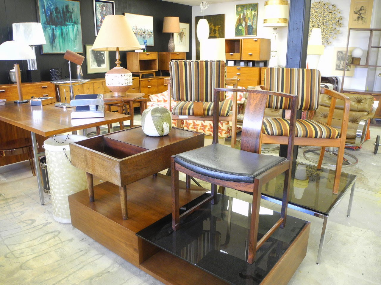 Live mid century modern auction estate sale warehouse