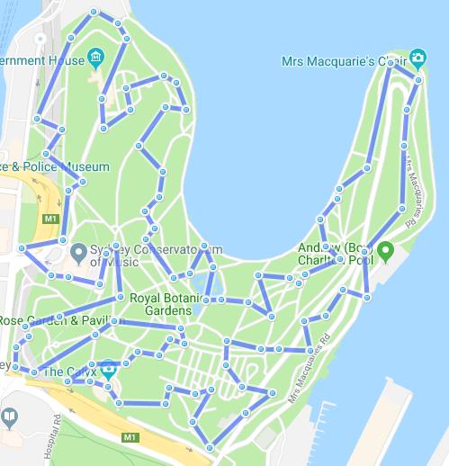 SpooferTricks com:  gpx route: AUS - Royal Botanic Garden