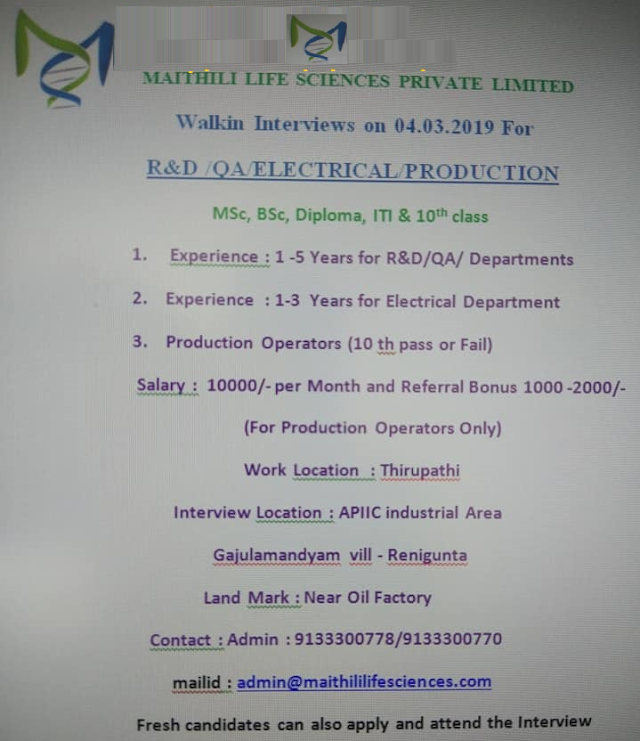 Maithili Life Sciences Walk In Interview For QA/R and D / Production on 4th March 2019