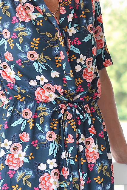 Style Maker Fabrics' Les Fleurs Birch Floral Rayon Navy sewn into a Simplicity 8084  maxi dress, designed by Mimi G - drawstring