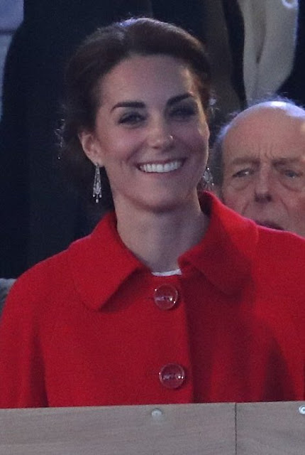 Kate Middleton wore a red Blazer with Back Pleat by Zara, and Kate Middleton wore Dolce & Gabbana Cotton-Blend Lace Dress. Kate Middleton style, jewelers tiara diamond earrings